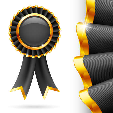 shiny black: Shiny black award ribbon with golden edging. Fabric with highly detailed texture Illustration