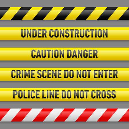 Conjunto de diferentes cintas de peligro. Cintas con texto En construcción, peligro precaución, la escena del crimen no entran en la línea de la Policía no se cruzan