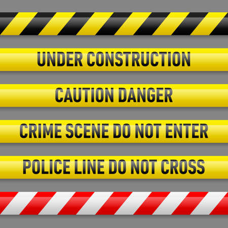 Set of different danger tapes. Tapes with text Under construction, Caution Danger, Crime scene do not enter, Police line do not cross