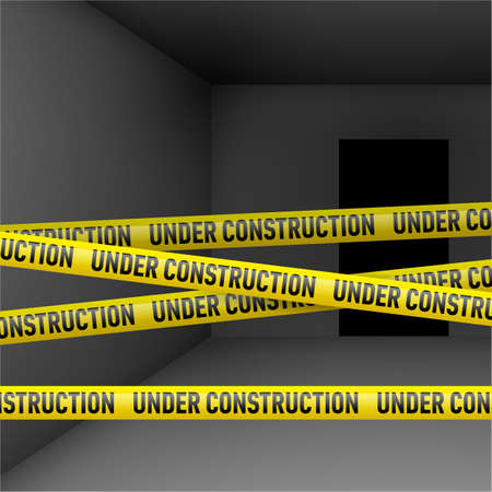 Dark room with yellow Under construction danger tape Vector