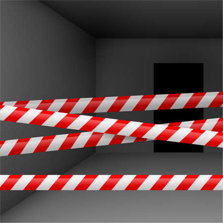 police tape: Dark room  with red and white danger tape. Crime or emergency scene Illustration