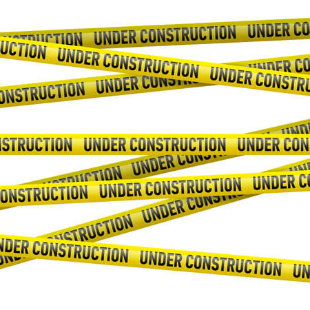 under construction: Realistic yellow danger tape with Under construction text. Illustration on white background