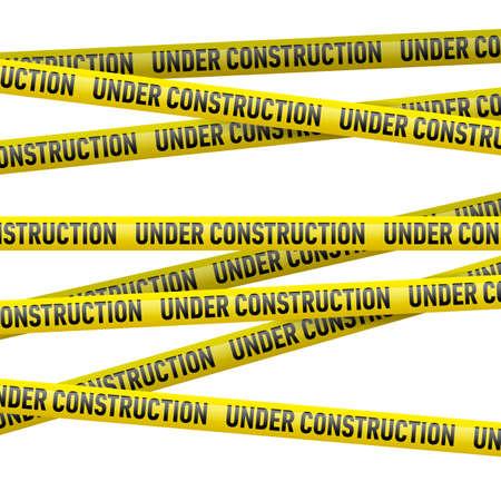 warning: Realistische gelbe Gefahr Band mit dem im Bau Text. Illustration auf weißem Hintergrund