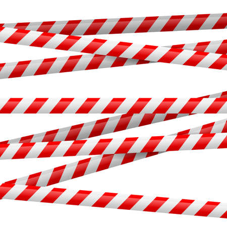 hazard tape: Realistic red and white danger tape. Illustration on white background