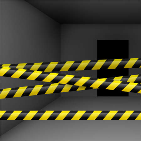 alert ribbon: Dark room  with yellow and black danger tape. Crime or emergency scene