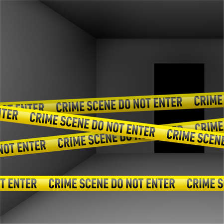 security room: Dark room  with police danger tape. Crime or emergency scene Illustration