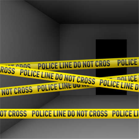 police tape: Dark room with police danger tape. Crime or emergency scene