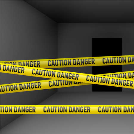 alert ribbon: Dark room  with caution and danger yellow tape. Crime or emergency scene Illustration