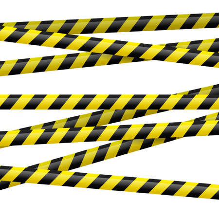 police tape: Realistic black and yellow danger tape. Illustration on white background