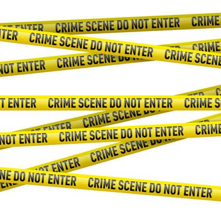 Realistische gelbe Gefahr Band mit Tatort nicht betreten Text. Illustration auf weißem Hintergrund.