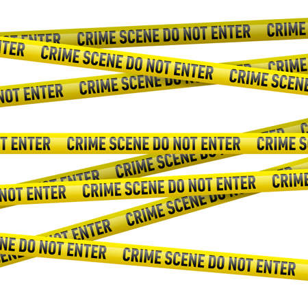 Realistic yellow danger tape with Crime scene do not enter text. Illustration on white background.