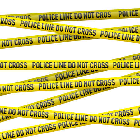 alert ribbon: Realistic yellow tape with Police line do not cross text. Illustration on white background