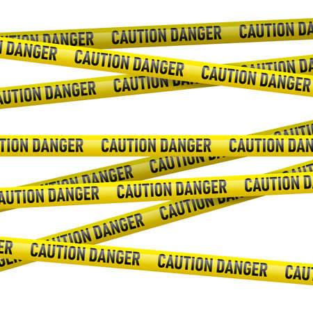 cordon: Realistic caution and  danger yellow tape. Illustration on white background