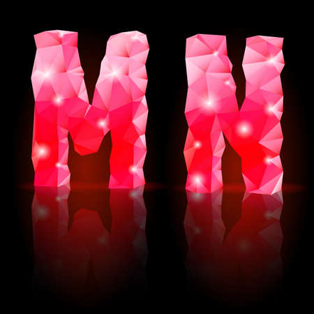 Shiny ruby polygonal font with reflection on black background. Crystal style M and N letters Vector