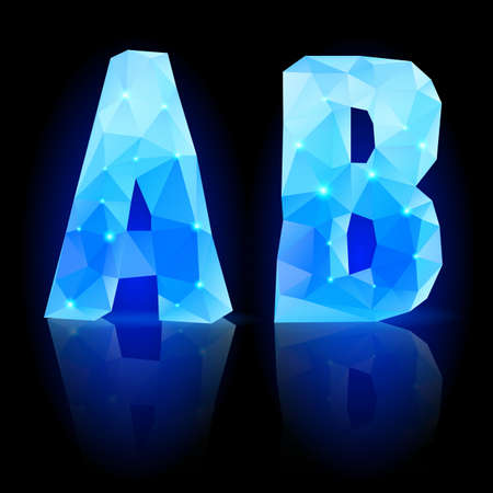 Shiny blue polygonal font. Crystal style A and B letters with reflection on black backround Vector
