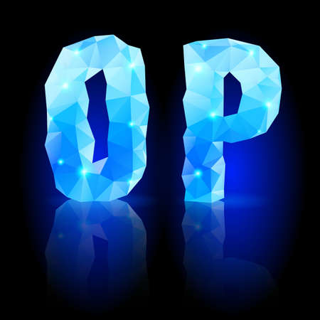 Shiny blue polygonal font. Crystal style O and P letters with reflection on black backround Vector