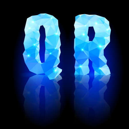 Shiny blue polygonal font. Crystal style Q and R letters with reflection on black backround Vector