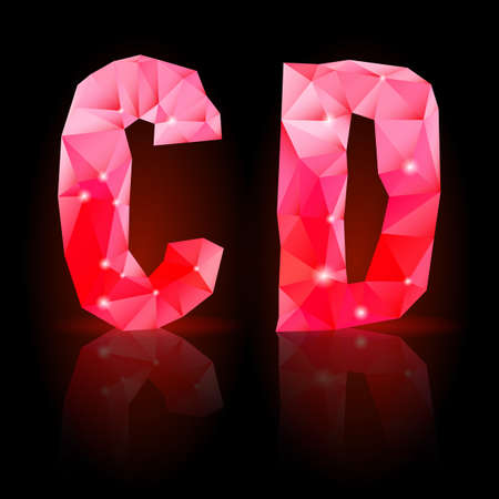 Shiny ruby polygonal font with reflection on black background. Crystal style C and D letters Vector