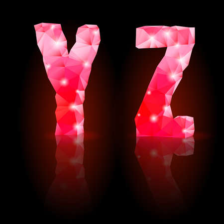 Shiny ruby polygonal font with reflection on black background. Crystal style Y and Z letters Vector
