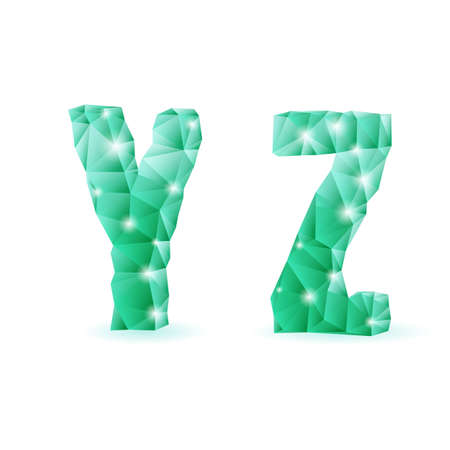 Shiny emerald green polygonal font. Crystal style Y and Z letters Vector
