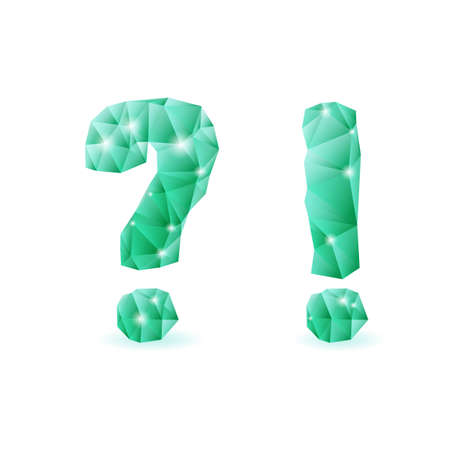 exclamatory: Shiny emerald green polygonal font. Crystal style question and exclamation marks