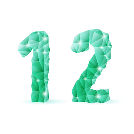 numerals: Shiny emerald green polygonal font on white background. Crystal style 1 and 2 numerals