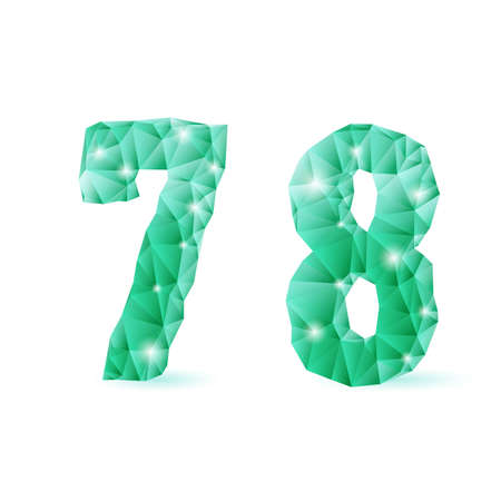 Shiny emerald green polygonal font on white background. Crystal style 7 and 8 numerals Stock Vector - 28934496