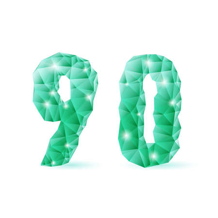 Shiny emerald green polygonal font on white background. Crystal style 9 and 0 numerals Vector