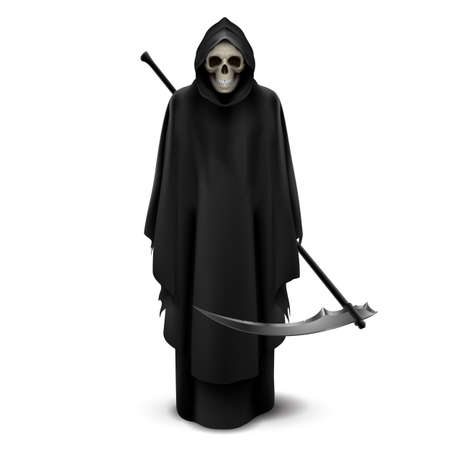 Angel of death with a scythe in his hands on white background. Illustration