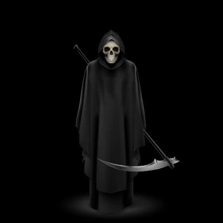 cowl: Angel of death with a scythe in his hands on black background.