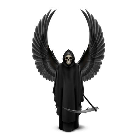 cowl: Angel of death with two wings up and a scythe in his hands.