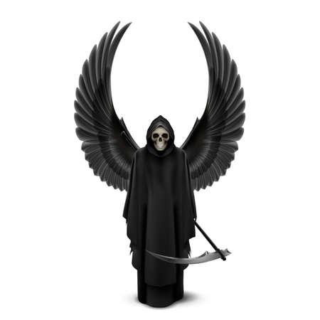 guadaña: Ángel de la muerte con dos alas y una guadaña en sus manos.