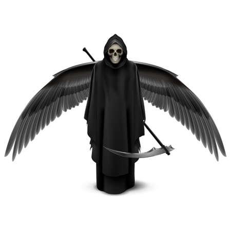 demonio: Ángel de la muerte con dos alas y una guadaña en sus manos.