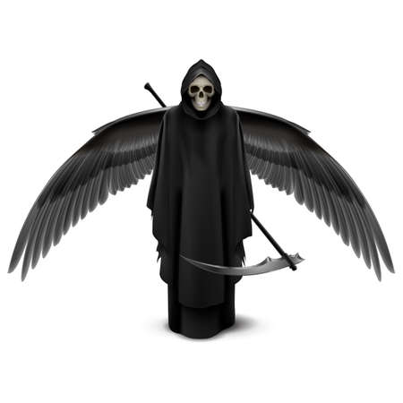 Angel of death with two wings and a scythe in his hands.