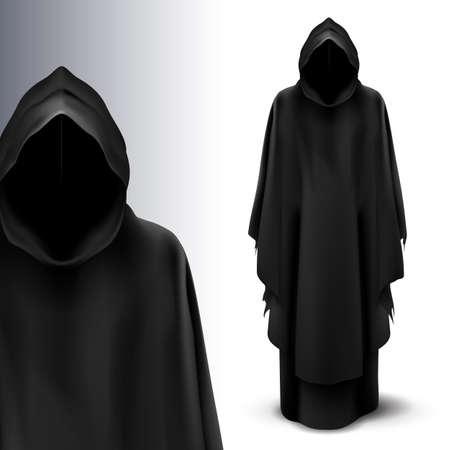 demon: Dos figuras negras de �ngeles de la muerte en el fondo gris. Vectores