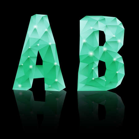 Shiny emerald green polygonal font with reflection on black background. Crystal style A and B letters Vector