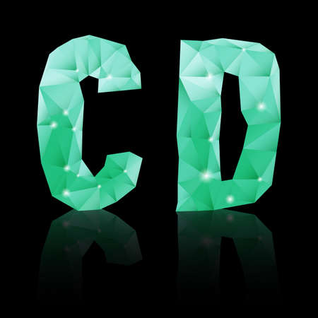 Shiny emerald green polygonal font with reflection on black background. Crystal style C and D letters Vector