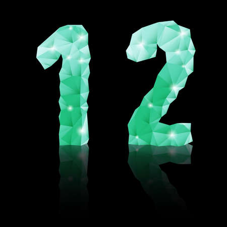 Shiny emerald green polygonal font with reflection on black background. Crystal style 1 and 2 numerals Vector