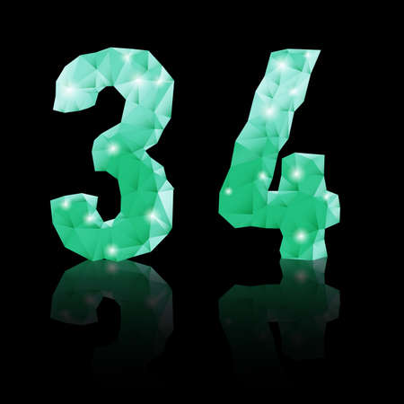Shiny emerald green polygonal font with reflection on black background. Crystal style 3 and 4 numerals Vector