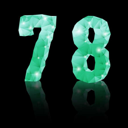 Shiny emerald green polygonal font with reflection on black background.  Crystal style 7 and 8 numerals Vector