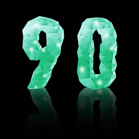 Shiny emerald green polygonal font with reflection on black background. Crystal style 9 and 0 numerals Vector