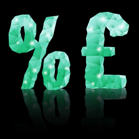 Shiny emerald green polygonal font with reflection on black background. Crystal style per cent and pound sterling signs Vector