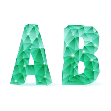 Shiny emerald green polygonal font. Crystal style A and B letters Vector