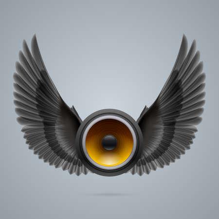woofer: Music speaker with two raised black wings.