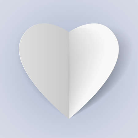 White folded paper heart for romantic design Vector