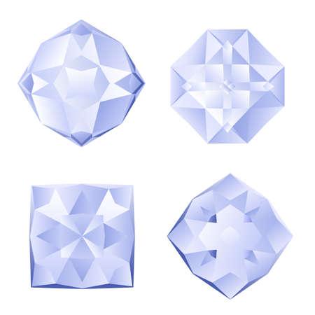adamant: Set of four shiny rhinestones on white background