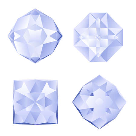 Set of four shiny rhinestones on white background