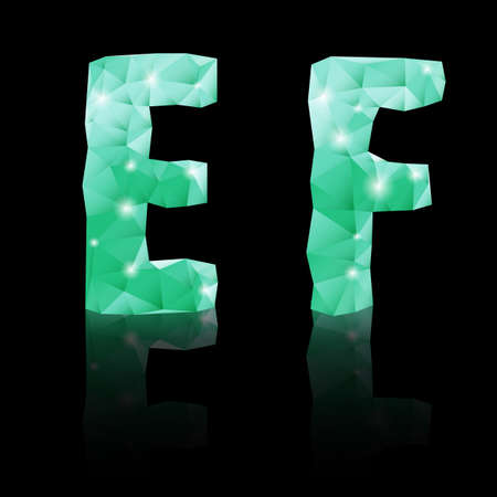 Shiny emerald green polygonal font with reflection on black background. Crystal style E and F letters Vector