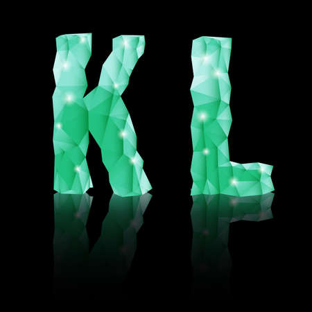 Shiny emerald green polygonal font with reflection on black background. Crystal style K and L letters Vector