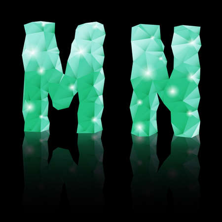 Shiny emerald green polygonal font with reflection on black background. Crystal style M and N letters Vector